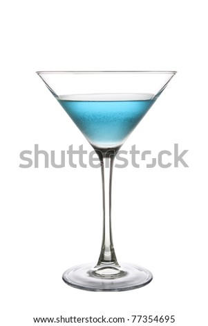 Blue Cocktail Drink on a white background - stock photo