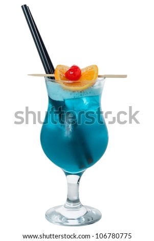 Blue cocktail in glass with straw and fruit decoration - stock photo