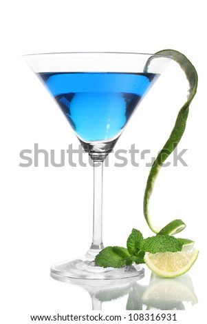 Blue cocktail in martini glass isolated on white - stock photo
