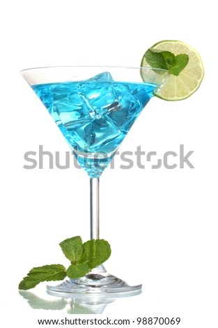 Blue cocktail in martini glasses with ice isolated on white - stock photo