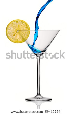 blue cocktail isolated on white background