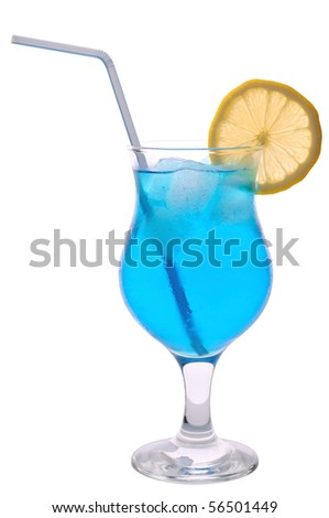 Blue cocktail on a white background