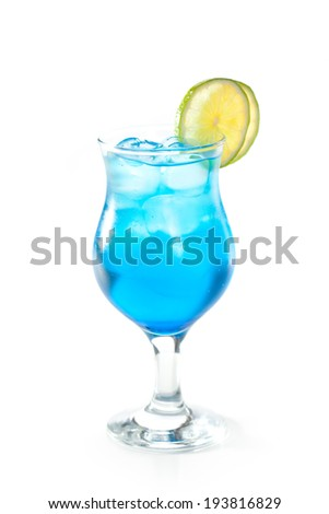 Blue Cocktail with Lime - stock photo