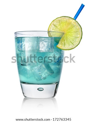 Blue cocktail with lime isolated on white - stock photo