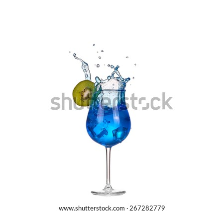 blue cocktail with splashes on white - stock photo