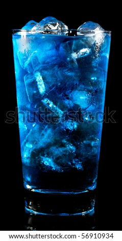 blue coctail drink with ice cubs - stock photo