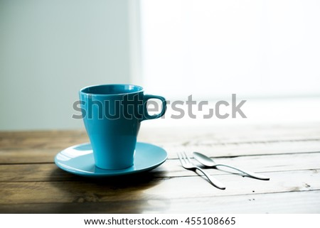 Blue coffee cup - stock photo