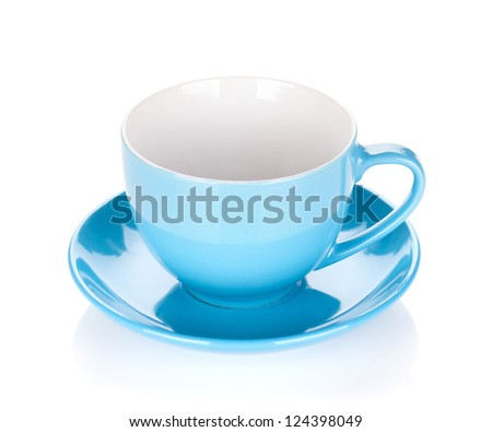 Blue coffee cup. Isolated on white background - stock photo