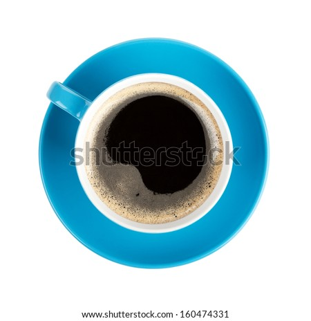 Blue coffee cup. View from above. Isolated on white background - stock photo