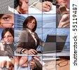 blue collage with beautiful businesswoman - stock photo