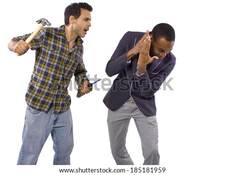 Blue collar worker vs white collar professional - stock photo
