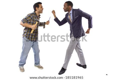 Blue collar worker vs white collar professional - stock photo