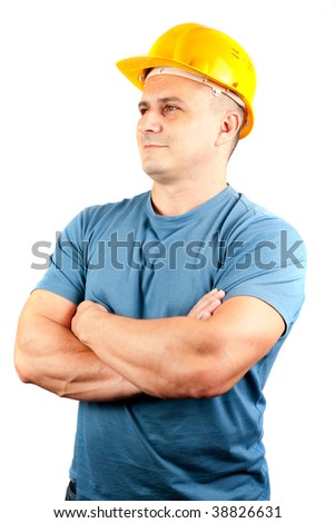 Blue collar worker with yellow helmet, isolated on white background - stock photo