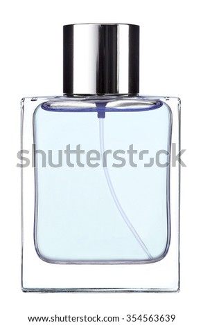 Blue Cologne water / studio photography of transparent bottle with essence - isolated on white background - stock photo