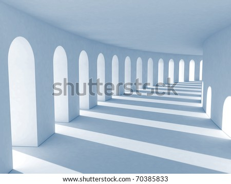 Blue colonnade with deep shadows. Illustration - stock photo
