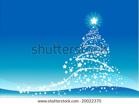 Blue color Christmas background - stock photo
