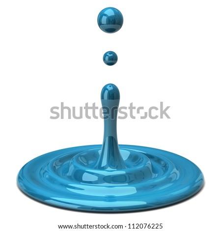 Blue color drop - stock photo