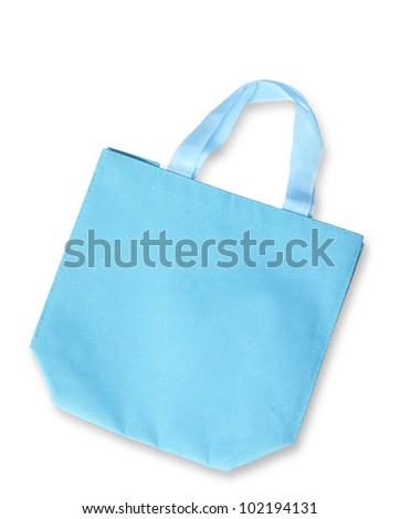 Blue color fabric bag or reusable shopping bag isolated, clipping path - stock photo