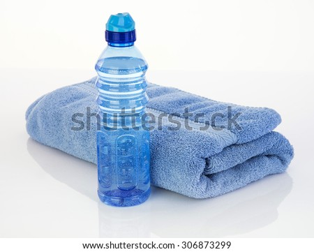 Blue color for male fitness tools to hydrate - stock photo