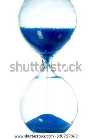 blue color hourglass isolated on white