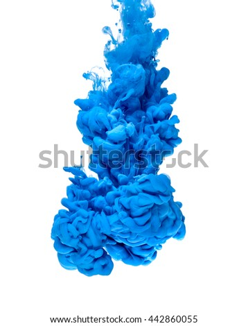 blue color paint pouring in water - stock photo