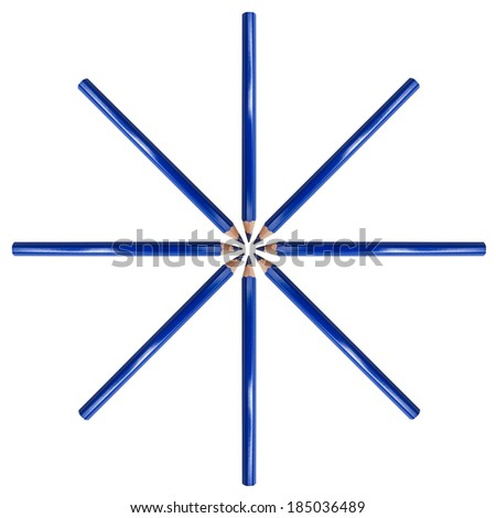 Blue color pencil isolated on white background