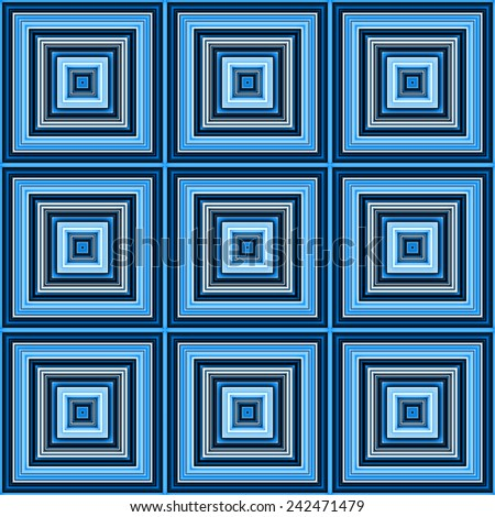 Blue color square tiles seamless illustration. - stock photo