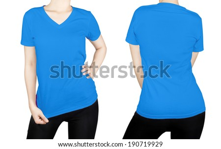 blue color T-shirt on woman body with front and back side isolated on white background. - stock photo