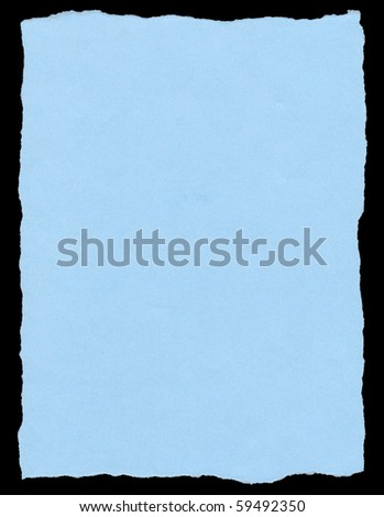 Blue color torn paper page isolated on a black background. - stock photo