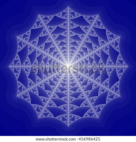 Blue Colored fractal pattern background - stock photo