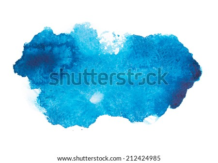 Blue colorful abstract hand draw watercolour aquarelle art paint splatter stain on white background - stock photo