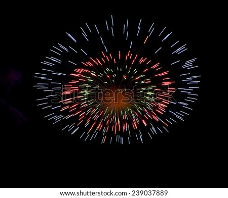 Blue colorful explode fireworks isolated in dark background with the place for text, Malta fireworks festival, 4 of July, Independence day, fireworks explosion in dark sky,concept, fireworks isolated  - stock photo
