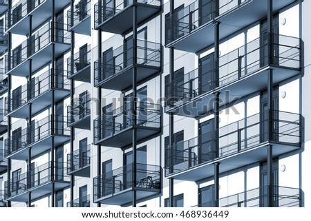 apartment complex clipart. blue colorized construction background picture of modern apartment building with balconies complex clipart