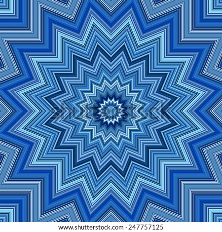 Blue colors kaleidoscope pattern illustration - stock photo