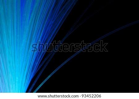 Blue colors optical fibers - stock photo