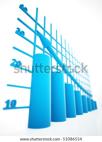 blue columns of diagram with arrow rising upwards - stock photo