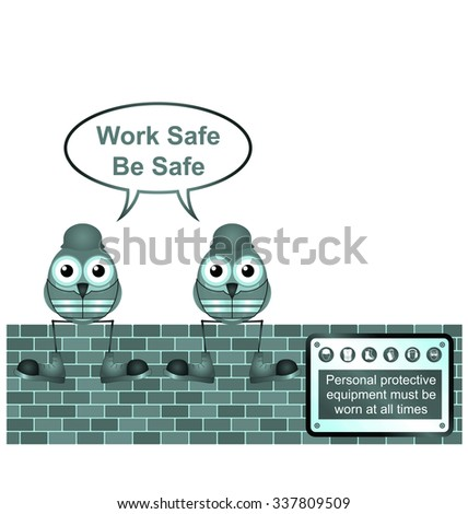 Blue comical construction workers with work safe message isolated on white background - stock photo