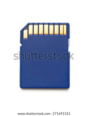 Blue compact memory card for camera in closeup - stock photo
