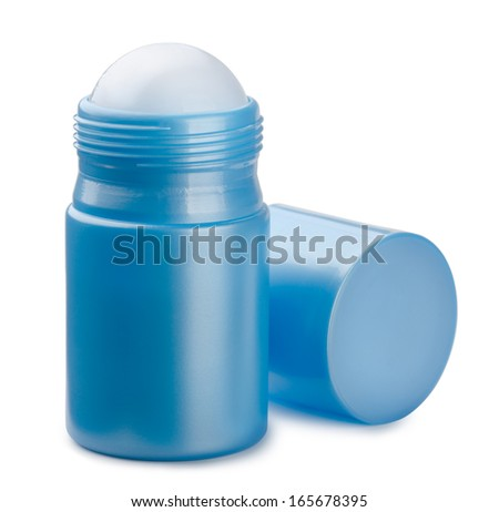 Blue compact roll on deodorant isolated on white - stock photo