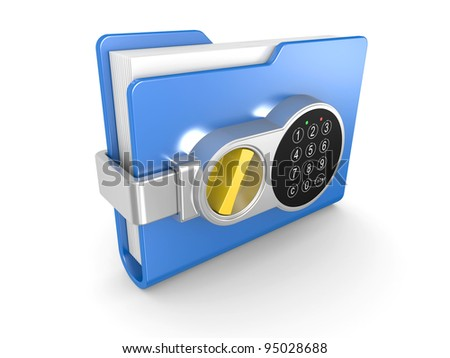 Blue computer folder with digital lock and key. 3d image on a white - stock photo