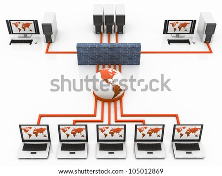 blue Computer Global network connecting the Internet - stock photo