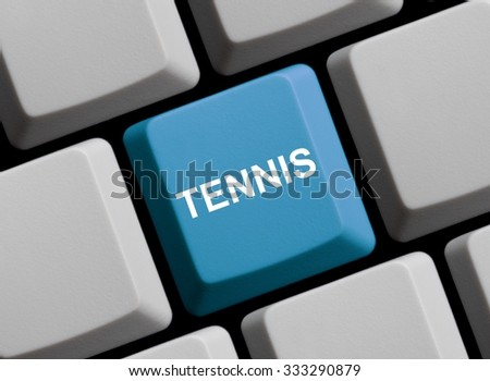 Blue Computer Keyboard is showing Tennis