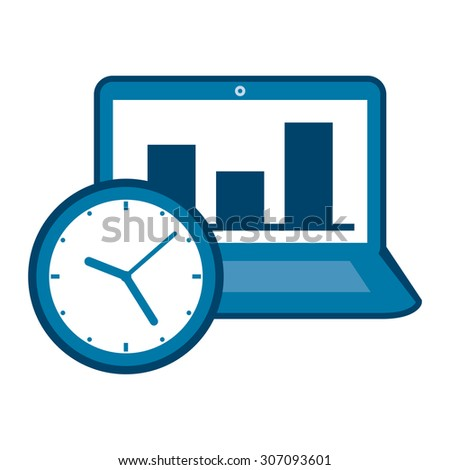 Blue Computer Laptop With Bar Chart on Screen and Time Clock Infographics Flat Icon, Sign Isolated on White Background - stock photo