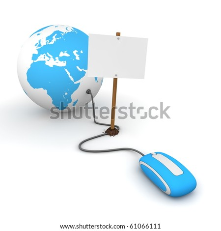 blue computer mouse is connected to a blue globe - surfing and browsing is blocked by a white rectangular sign that cuts the cable - empty template - stock photo