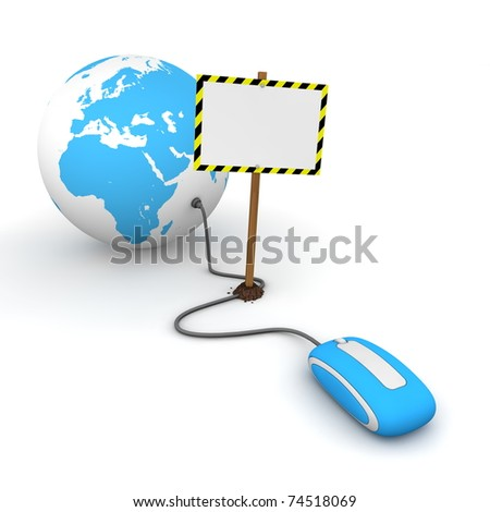 blue computer mouse is connected to a blue globe - surfing and browsing is blocked by a white rectangular sign that cuts the cable - empty template with yellow and black warning stripes - stock photo
