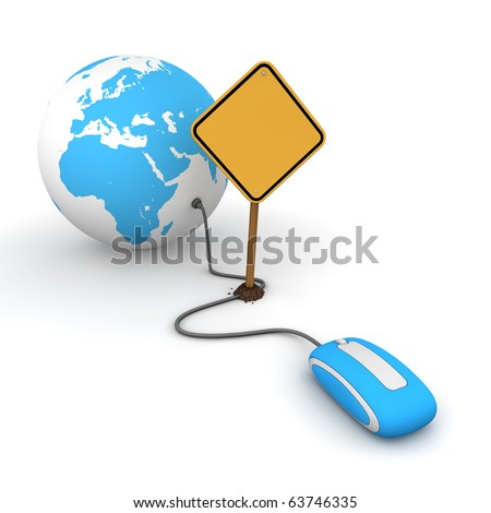 blue computer mouse is connected to a blue globe - surfing and browsing is blocked by a yellow warning sign that cuts the cable - sign as an empty template for your own text - stock photo
