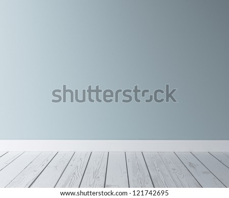 blue concrete wall and wood floor - stock photo