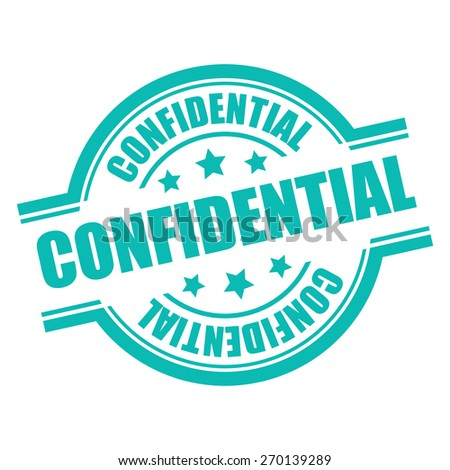 Blue Confidential Stamp, Badge, Label, Sticker or Icon Isolated on White Background - stock photo