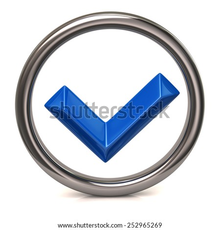 Blue confirm check mark sign in silver ring - stock photo