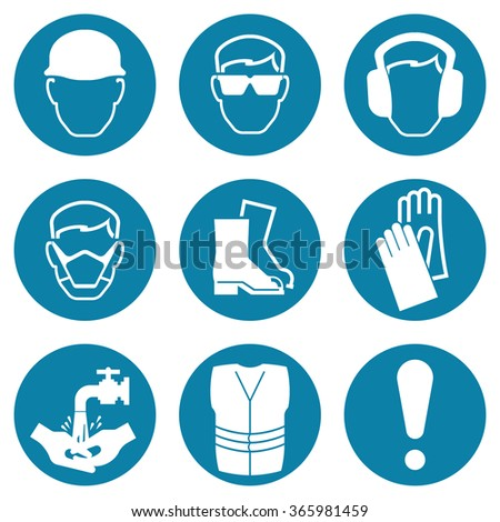 Blue construction and manufacturing Industry Health and Safety Icon collection isolated on white background - stock photo